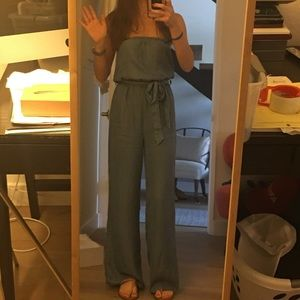 NWT Forever 21 S Strapless Chambray Jumper